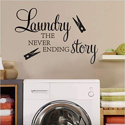 Anytumep Cuarto de lavado pegatinas de pared Cuarto de lavado historia interminable Pinza de ropa calcomanías de pared Cuarto de lavado baño mural decoración papel tapiz 30x28 cm negro