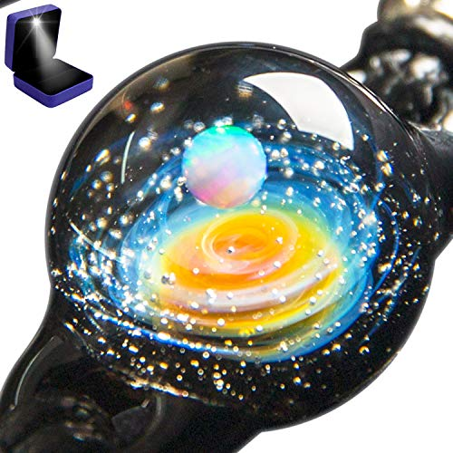 Pavaruni Aurora Original Galaxy Pendant Necklace, Universe Glass, Space Cosmos Design,Birthday Art Japan Handmade Craftsman (X_Uranus(Bracelet)(Synthetic Opal Gemstone))