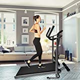 Non-Motorized Treadmill, Foldable Treadmills for Small Spaces Shock-Absorbing Mechanical Walking Machine withTwo Armrest & Sit-ups-Massage Wheel, Running/Walking/Jogging Exercise Machine
