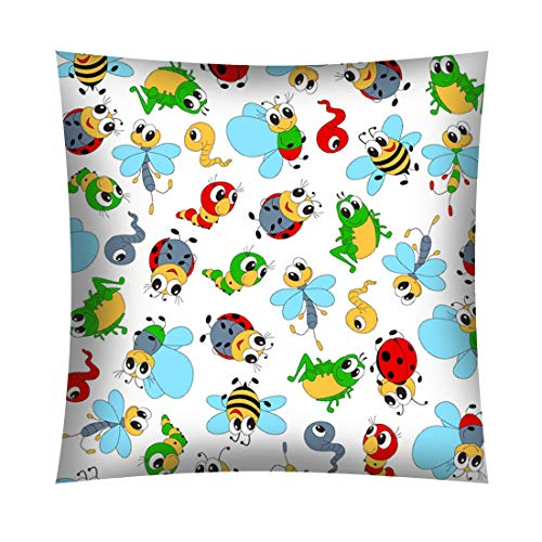 Kinder Baby Kissenbezug 40 x 40 cm 100% Baumwolle mit Reißverschluss (Marienkäfer)