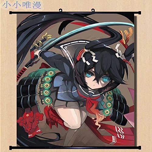 Fengdp Japón Anime Black Rock Shooter Personajes Black Rock Shooter y Kuroi Mato decoración del hogar Cartel de Desplazamiento de Pared Cuadros Decorativos 40x60cm