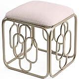 WXXSL Sitzwürfel, Sitzhocker Fußstütze Ottoman, Fußhocker Metallhocker Mode Sitzänderung Schuhe Kleiner Wohnzimmer Schminkhocker Leinen Stoff Memory Foam