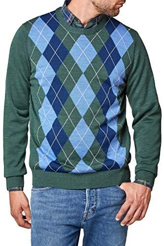 Maerz Herren Pullover Wolle Sweater Raute und Karo Grün 54