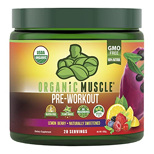 Organic Muscle #1 Rated Organic Pre Workout Powder-Natural Vegan Keto Pre-Workout & Organic Energy Supplement