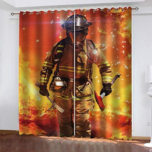 WLHRJ Cortina Opaca en Cocina el Salon dormitorios habitación Infantil 3D Impresión Digital Ojales Cortinas termica - 280x160 cm - Guerrero Bombero