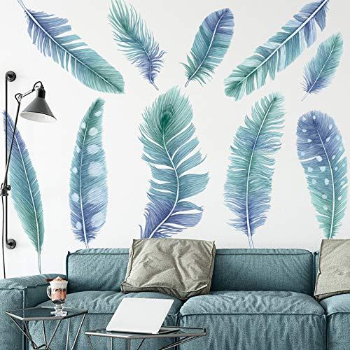 Wandtattoo, Blau Feder Wandsticker, DIY Wandaufkleber für Schlafzimmer Küche Bad Flur Wanddeko
