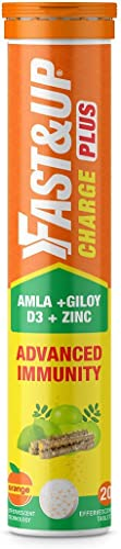 Fast Up Charge Plus Natural Immunity Booster Vitamin C Giloy Vitamin D3 and Zinc Strong Immunity Support 20 Effervescent Tablets Orange Flavour