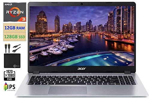2021 Premium Acer Aspire 5 15.6' FHD 1080P Laptop Computer AMD Ryzen 3 3200U Dual Core Up to 3.5GHz (Beats i5-7200U), 12GB RAM 128GB SSD, Backlit Keyboard, WiFi, Webcam Windows 10 S, w/Marxsol Cables