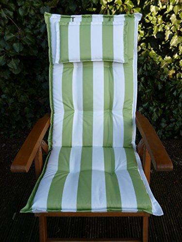 2 Stück SUNFUN Hochlehnerauflagen mit Kopfpolster Portland Dessin 20560-210 Weiß/Grün gestreift Maße ca. 120x52x8 cm