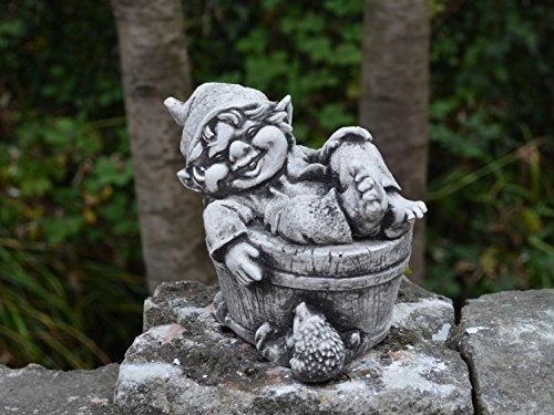 Sonderangebot: Stück 5 lustige kleine Gnome Trolle Wichtel aus Steinguss frostfest - 5