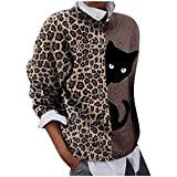 WAJLSWIK Sudaderas para mujer, diseño de leopardo, gato, retazos, rosas, cuello redondo, manga larga, blusa informal