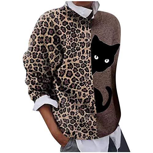 WAJLSWIK Sudaderas para mujer, diseño de leopardo, gato, retazos, rosas, cuello redondo, manga larga, blusa...