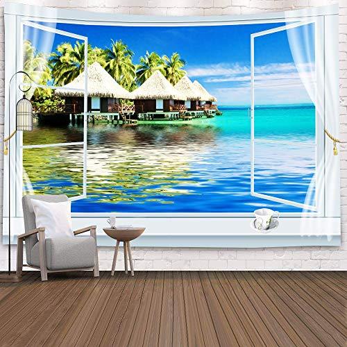 KHKJ Tapiz de Ventana Vista Planta Verde Flores de mar 3D Colgante de Pared Alfombra Manta Colcha Toalla de Yoga Decoración de Pared de Playa para el hogar A18 200x180cm