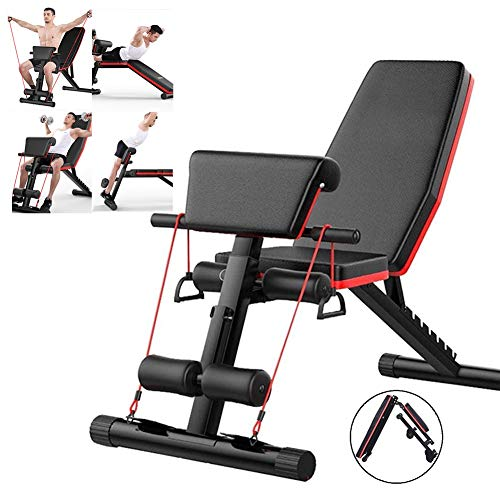 Adjustable Weight Bench with Leg Extension and Leg Curl, Abdominal Training Workout Bench for Full Body Workout with Fast Folding