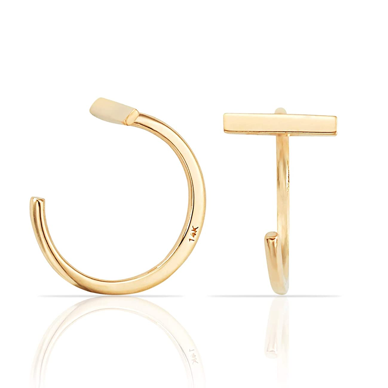 Simple Mini Slip On Huggie Cuff Earrings in Solid 14K Yellow Gold