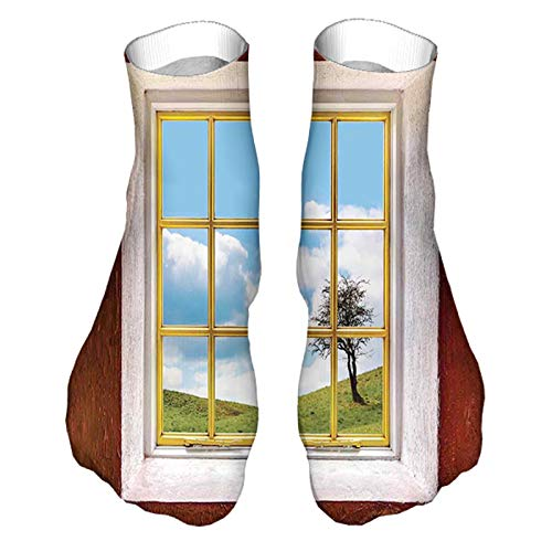 Unisex Dress Cool Colorful Fancy Novelty Funny Casual Combed Cotton Crew Socks Meadow Grass with Tree Through Window Countryside Rural Cot