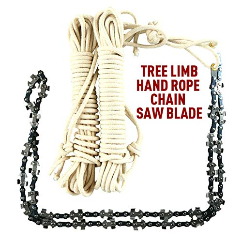 Meshin 48 Inch High Reach Tree Limb Hand Rope Chain Saw Cutter on Both Side,Outdoor Tool Hand Rope Chain Saw Survival for Camping Hiking,Fast Tree Cutting