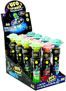 Flashing Saucers Alien Ufo Spinner With Candy Pop(Glow In The Dark!) - 12 Ct. Case