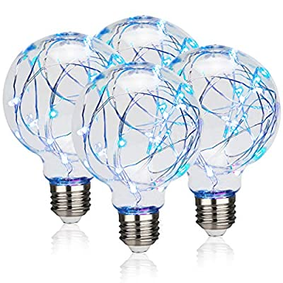 RuiaoTD 4 Pack LED Globe Fairy Light Bulbs,Decorative Light Bulbs 2W G80 RGB Color Changing E26 Base with Starry Decorative String Lights for Bathroom Bedroom Living Room Multicolor