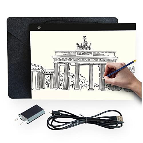 Professioneller Ultra Slim A4 Leuchttisch mit USB Ladegerät und hochwertiger Filzhülle | Lichtpad | Light Pad | Lichttafel zum Zeichnen | Helligkeit einstellbar