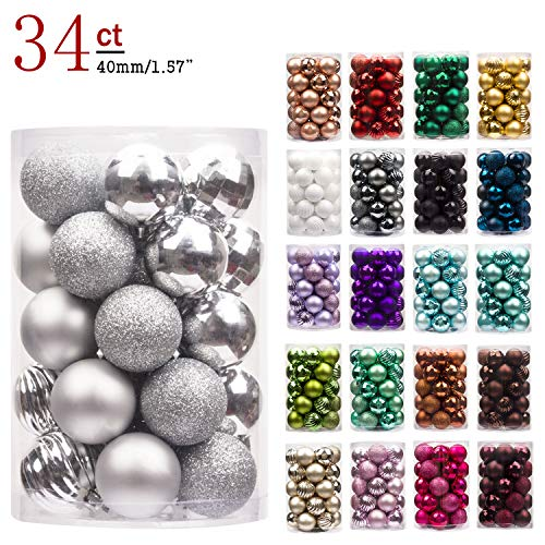 KI Store Christmas Baubles Silver 40mm Small Christmas...