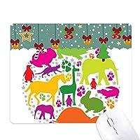 ラウンドシェイプデザインのカラフルな動物 ゲーム用スライドゴムのマウスパッドクリスマス