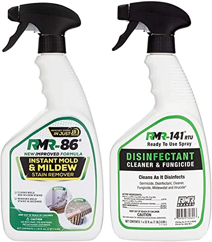 Product Image of the RMR Brands Complete Mold Killer & Stain Remover Bundle - Mold and Mildew Prevention Kit, Disinfectant Spray, Bathroom Cleaner, Includes 2 - 32 Ounce Bottles