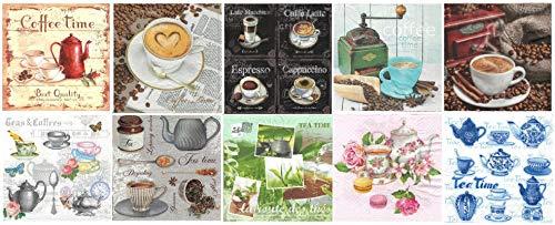 Zita's Creative Servietten Set mit Decoupage-Kleber - Kaffee und Tee, Decoupage, Serviettentechnik,