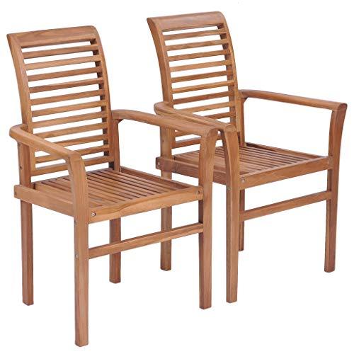 yorten Esstischstühle 2 STK. Stapelbar, Garten Essstuhl, Holzstuhl, Teak Massivholz, 62 x 56,5 x 94 cm, für Garten, Terrasse, Esszimmer