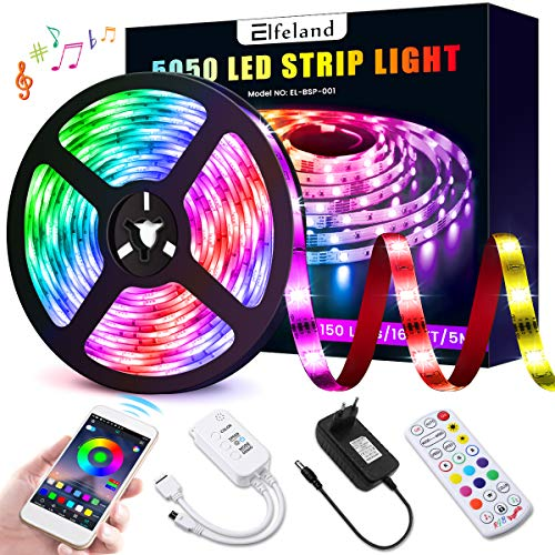 Elfeland LED Streifen 5M LED Strip RGB 5050SMD 150 Led Bänder, LED Stripes steuerbar via App bluetooth, LED Band Sync mit Musik, Lichtband Hintergrundbeleuchtung Full Kit mit Fernbedienung Beleuchtung