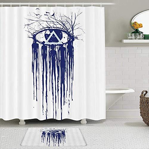 BCVHGD Duschvorhang-Sets mit rutschfesten Teppichen,Abstrakte Art, die fließendes menschliches Kö, Badematte + Duschvorhang mit 12 Haken