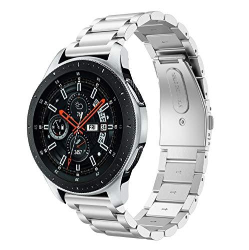 Riou Correa para Reloj, para Samsung Galaxy Watch Correa de reemplazo de Correa de Reloj de Acero Inoxidable de Lujo Pulseras de Repuesto 46mm