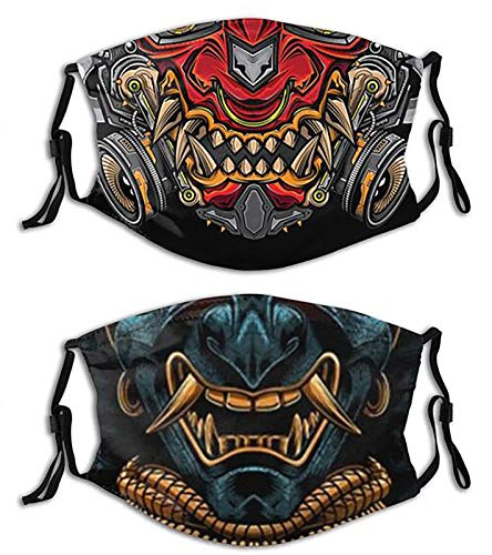 Japanese Oni Samurai-Face Mask with Filters, Washable Reusable Scarf Balaclava, for Women Men Adult Teens