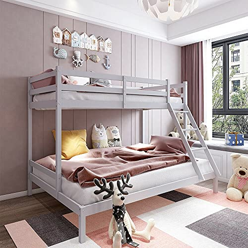 HUIJK Triple Wooden Pine Bunk Bed Frame 4ft6 Trundle und 3ft Upper Bed Frame Kids White