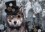 Puzzles 1000 Piece - Steampunk Wolf - Wooden Jigsaw Puzzle Educational Puzzle Toys Gift For Adults & Kids Challenge