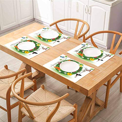 FloraGrantnan Dining Table Decoration Placemats Table Mats, Letter O Spring Season Alphabet with Grass Daisy Butterflies Ladybugs Green, for Kitchen Dining Decoration, Set of 6