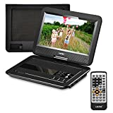 "UEME Portable DVD Player with Car Headrest Mount Case, 10.1"" HD Swivel Screen, Remote Control, Power Adapter, Car Charger, 5 Hours Rechargeable Battery, Support USB/SD Card and TV Sync - Black"