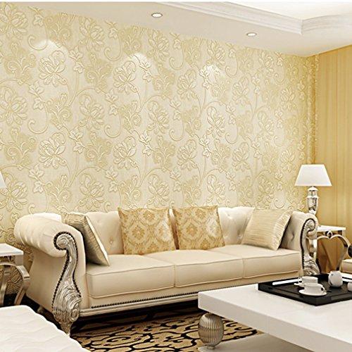 Modern minimalistisch behang, 10M Non-Woven 3D Flocking reliëf bloemen behang voor woonkamer slaapkamer Bloemetjes met reliëf Cream Color