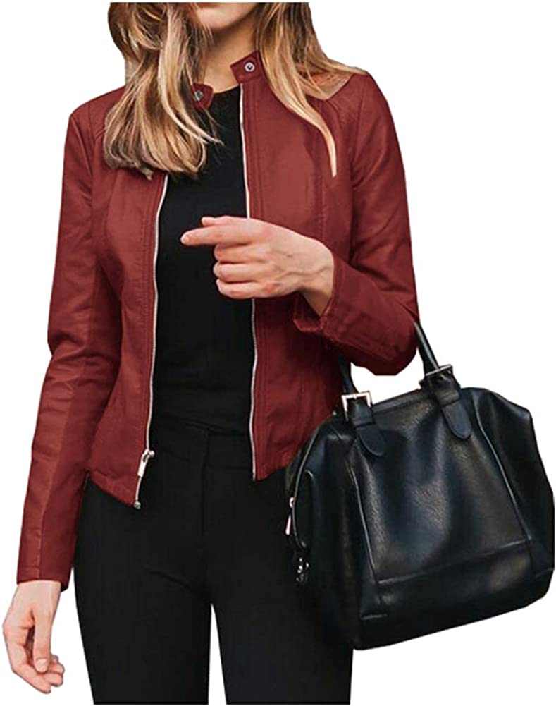 Ladyful Women's Casual Faux Special sale NEW before selling item Pu Trucker Jacket Motorcycle Leather