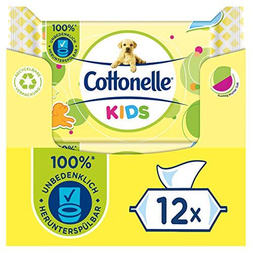 Cottonelle Feuchtes Toilettenpapier, Kids - Fruchtig frischer Duft, Biologisch Abbaubar, Plastikfrei, Wiederverschließbar, Vorteilspack, 12 x 42 Feuchttücher