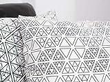 Heller Bezug für Sofakissen mit weißen Sierpinski-Dreiecken, 50x50 cm, schwarzweiß, Muster...