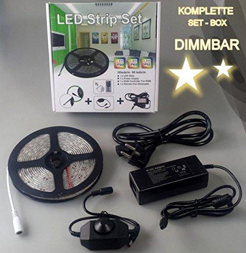 Barre lumineuse LED bande lumière barre autocollant 5 m rôle – Box Pack Lot de 12 V IP20 à intensité variable Blanc chaud – avec bloc d'alimentation, DIMM module, télécommande