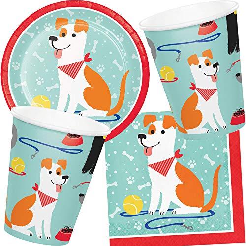 mehrfarbig 1,3 x 22 x 19 cm verschiedene Hunde 22,9 cm Creative Converting Teller