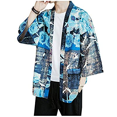 LifeHe Men's Japanese Floral Fish Crane Printed 3/4 Sleeve Kimono Cardigan Jackets