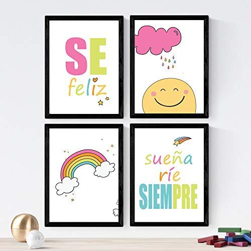 Set de 4 láminas de Mensajes Infantiles ,en tamaño A4, Poster papel 250 gr alta calidad. Sin Marco