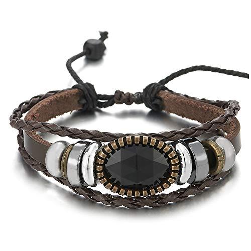iMETACLII Hombre Mujer Tribal Multi-Hilo Marrón Trenzado Cuero Abrigo Pulsera con Acrílica Piedras Perla Encantado con Colgantes