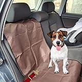 Set de Funda Protectora de Asientos Individual y Enganche cinturón de Seguridad para Perros para el Coche (Pack 2 x 1) (Marrón)