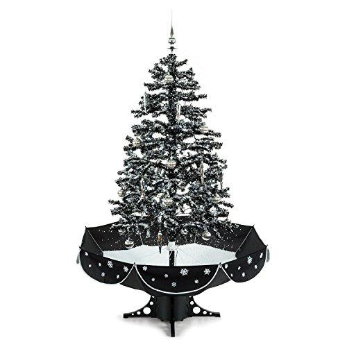 Oneconcept Everwhite - árbol navideño Artificial, árbol de Navidad, Pino, simulación de Nieve, 180 cm de Altura, decoración de 30 Piezas, Cadena de Luces, iluminación LED Azul, Negro