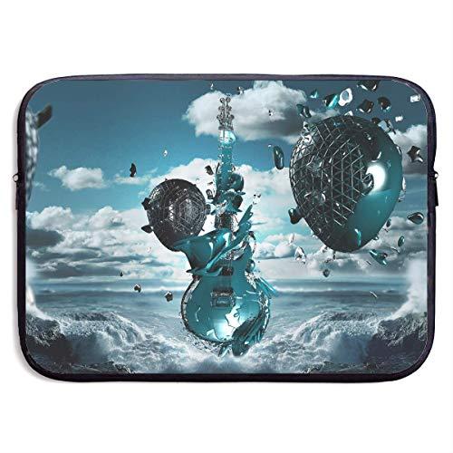 QUEMIN Mode Computer Liner Hülle Fall 3D Kreative Musik Gitarre Tragbarer Laptop Schutzhülle Abdeckung Handtasche für MacBook Pro/MacBook Air/Asus/Dell , 15inch
