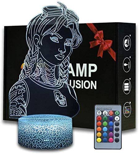 Luz nocturna 3D ilusión Battle Royale Jules, lámpara de mesa temática de juego con mando a distancia, decoración de dormitorio, lámpara de escritorio creativa para cumpleaños